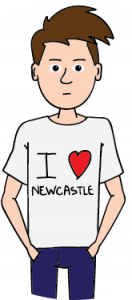 "Steve the student wearing an ""I love Newcastle"" t-shirt"